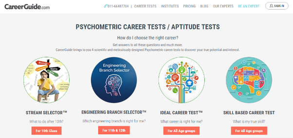 The Four Types Of Psychometric Tests Provided By CareerGuide.com Are:  Career Tests