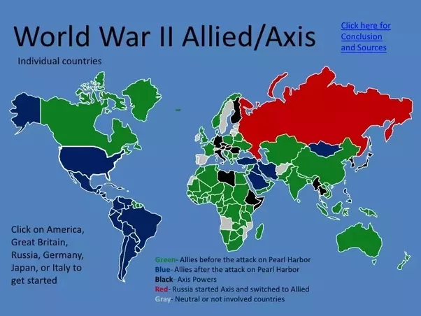 Over which areas did wwii take place quora here is a map of allied and axis powers it was a global event and battles took place over europe asia africa and north america pearl harbor gumiabroncs Gallery