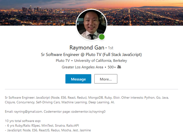 What are some of the best Software Developers LinkedIn profile