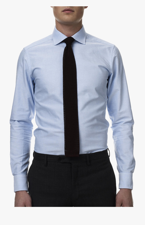 Wear light blue shirt with to tie What color