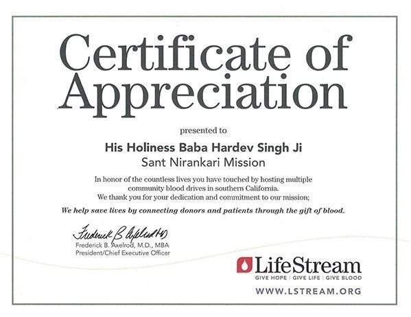 What is the sant nirankari mission quora certificate of appreciation for blood donations in southern california yelopaper Choice Image