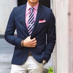 733f885d What colour tie should I wear with a navy blue suit and a pink shirt ...