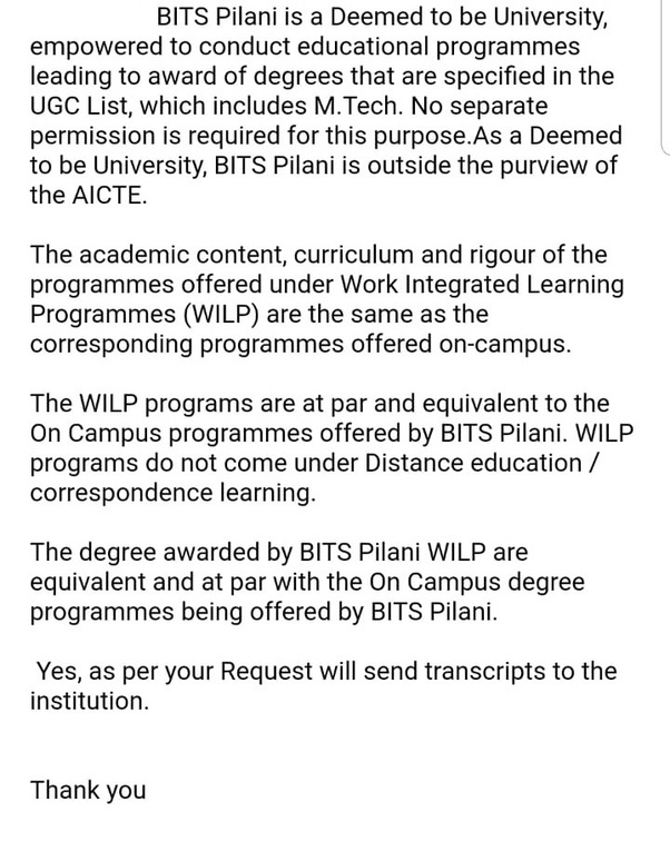 Is BITS WILP still approved by UGC? - Quora