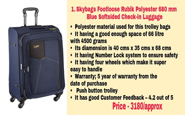 da96da71912 Skybags Footloose Rubik Polyester 680 mm Blue Softsided Check-in Luggage