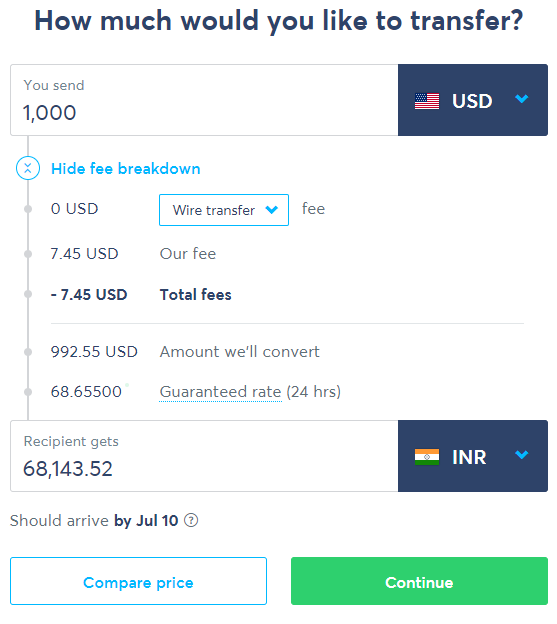 Sending 1000 Usd From Usa To India Via Transferwise Using Wire Transfer Is Their Est Mode Of Money For