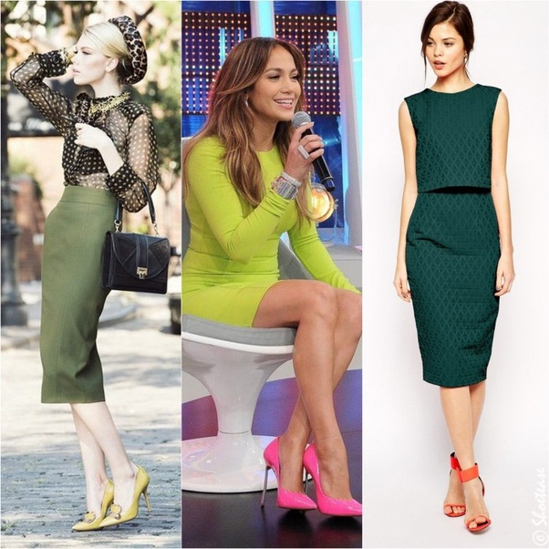 526064bed0b What color shoes should I wear with a green dress  - Quora