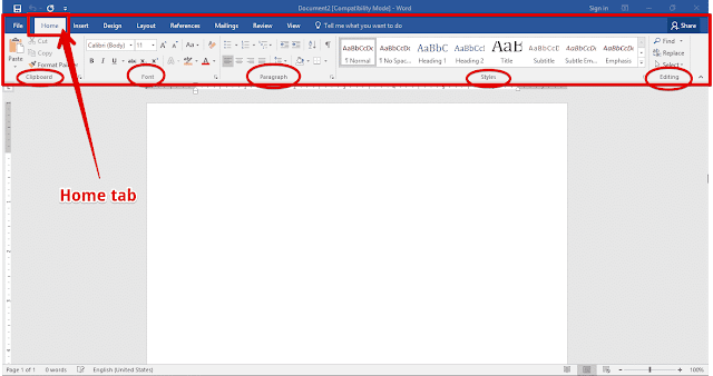 What do you mean by home tab in MS word? - Quora