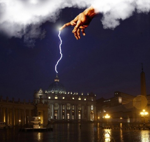 Image result for pope benedict lightning vatican