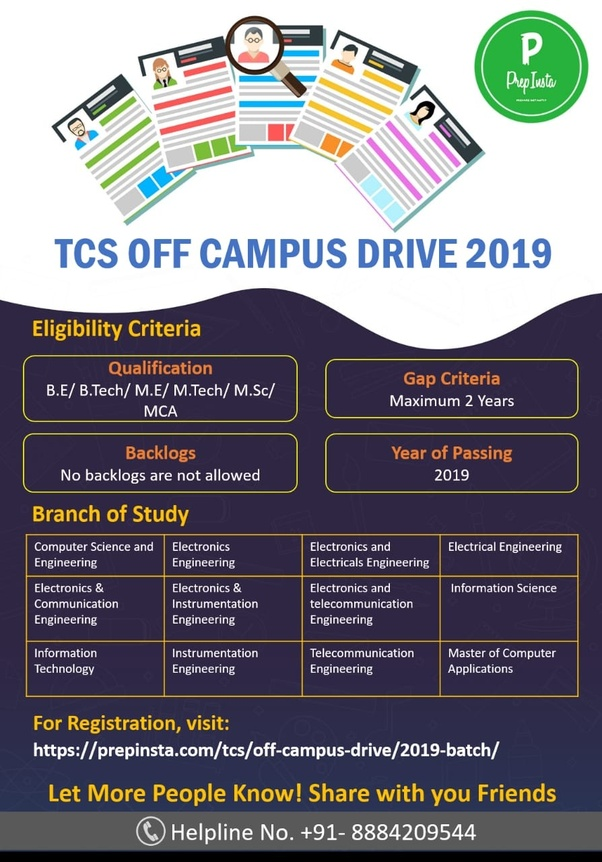 When can we expect the TCS off-campus drive for the 2019