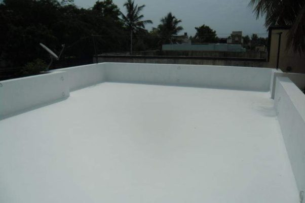 White Lime Wash On Terrace  This Acts Like An Rereflective Layer And Helps  The Slab To Remain Cool Throughout Summer. This Washes Away In The Rains,  ...