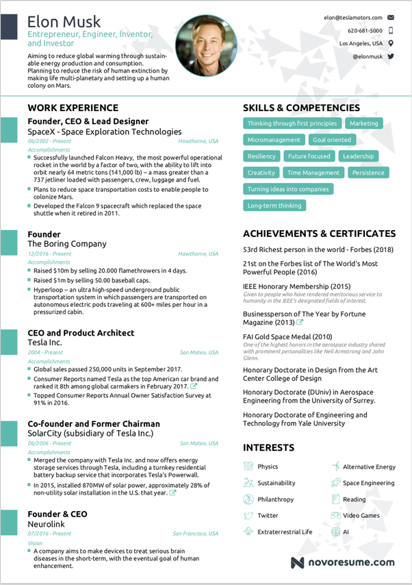 What would Elon Musk\'s resume look like? - Quora