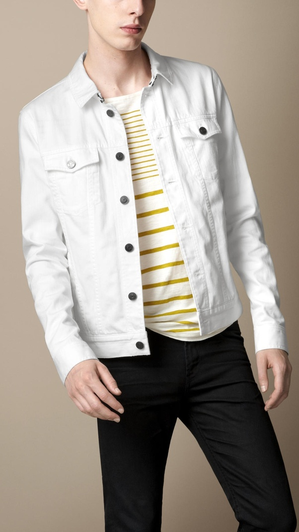 add022b23e8 What colors should we wear with a white jeans jacket  - Quora