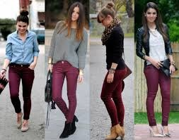 Colors like white, grey, black , beige, powder pink or a powder blue all  look great with maroon pants,