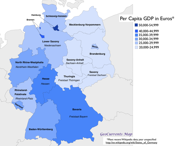 given that modern berlin is a combination of west berlin which had a higher gdp per capita as it was for practical purposes part of west germany and east