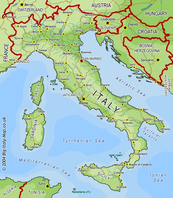 Map Of Countries Around Italy.Which Two Countries Are Surrounded On All Sides By Italy