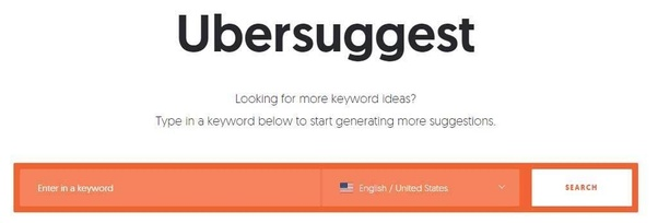 ubersuggest home page