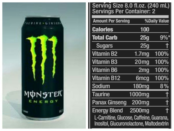 Youth Energy Drink Nutritional Information
