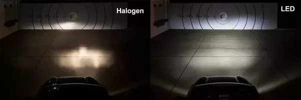Leds have the coolest color temperature at around 6000 kelvin which makes them appear whiter than daylight xenon headlights come in at around 4500 k