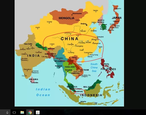 Should singapore be afraid of the rise of china as it continues to as you can see from the map singapore is that tiny red dot to the south of malaysia and china is that enormous yellow blob many many miles north gumiabroncs Choice Image