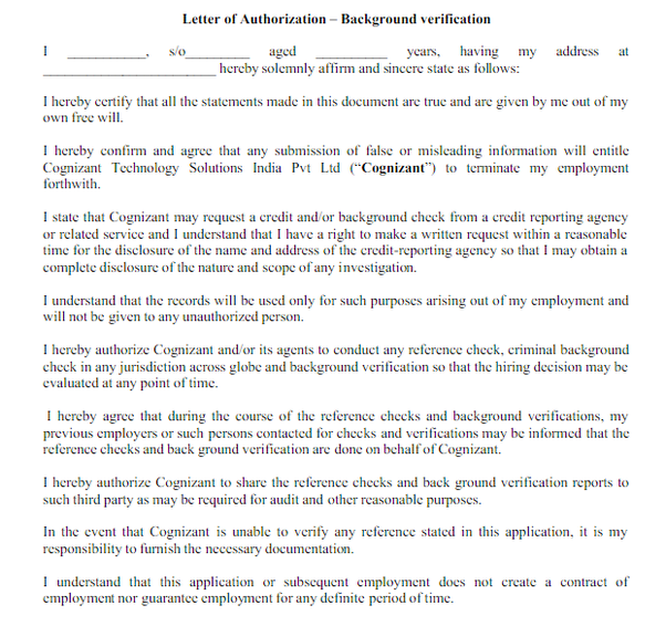What is letter of authorization in cognizant background verification the basic role of this letter is to provide your signed statement that stats that all the documents that you provided are true to the best thecheapjerseys Gallery
