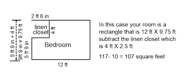 However if your room is not a complete rectangle you will need to  subdivide the room into rectangles and add or subtract the areas together.
