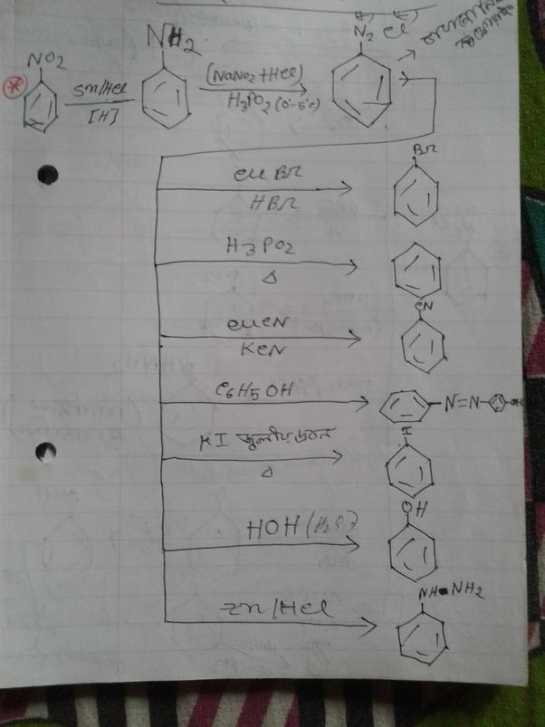 nitrobenzene to bromobenzene