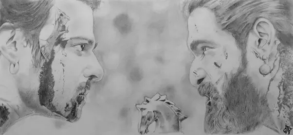Its a pencil sketch of the final scene in baahubali 2 the conclusion