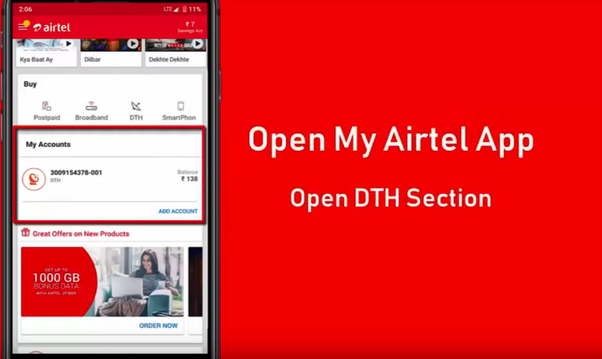 remove top up airtel dth