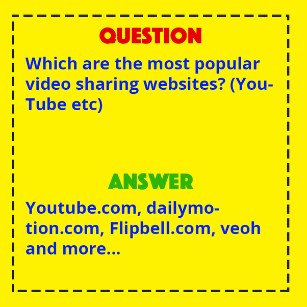 Which are the most popular video sharing websites? (YouTube