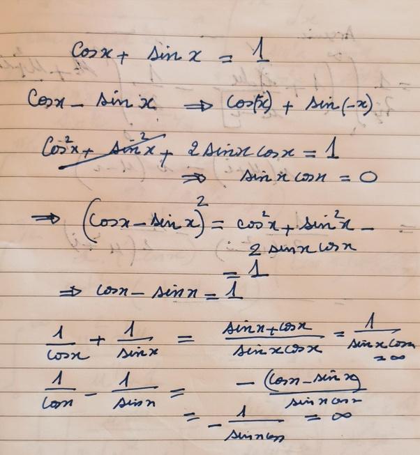 If cosine plus sine is 1, then what is cosine minus sine and