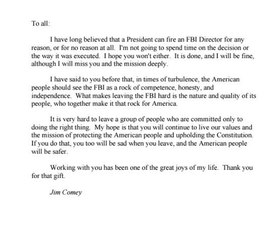 Is there any chance that trump actually fired director comey for comey wrote a farewell letter to his fbi colleagues thecheapjerseys Gallery
