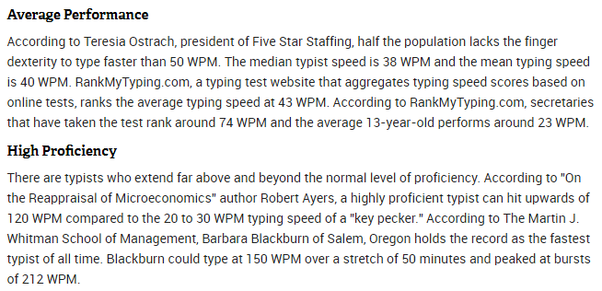 What typing speed in WPM is considered good/fast? - Quora