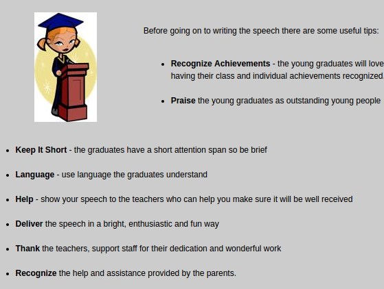 graduation speech draft A commencement speech is a speech delivered at the commencement ceremony of a higher education institution by a graduate, an alumnus, a celebrity or a politician to the graduating class, their families and guests.