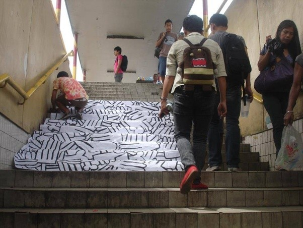Form Art Term : What is the term for paper street art bigger than a sticker and