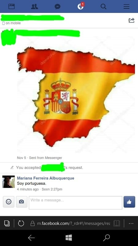 This Individual With Whom I Share  Contacts And Who Ive Never Heard Of Just Sends Me A Picture Of Spain With The Spanish Flag On It