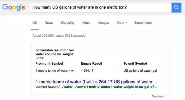 Units Of Measure How Many Us Gallons Of Water Are In One Metric Ton