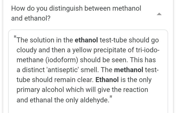 What are any two differences between methanol and ethanol? - Quora