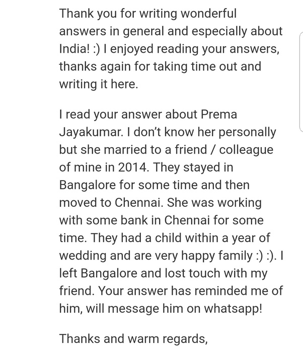 what is your most heartwarming message that you received on quora