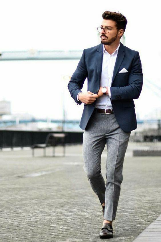 What color shirt matches with grey formal pants?