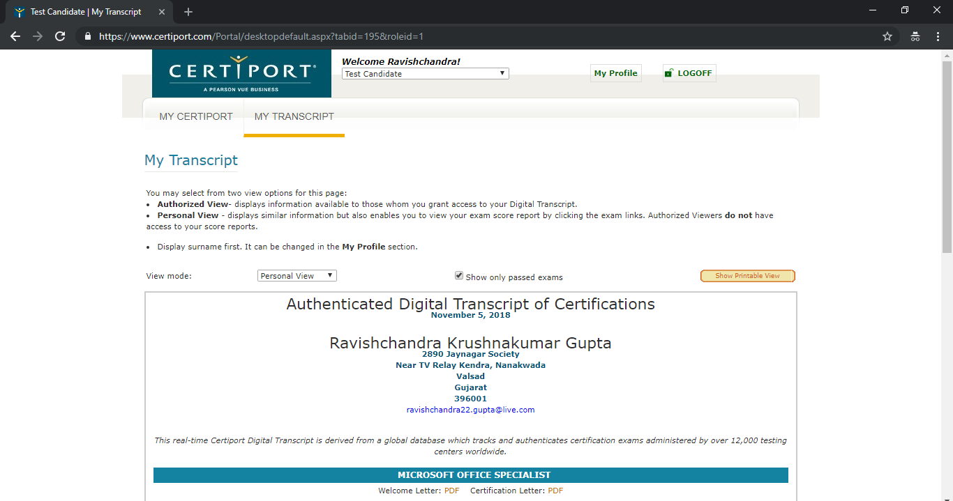 How to download MTA/MOS certificates from the Certiport