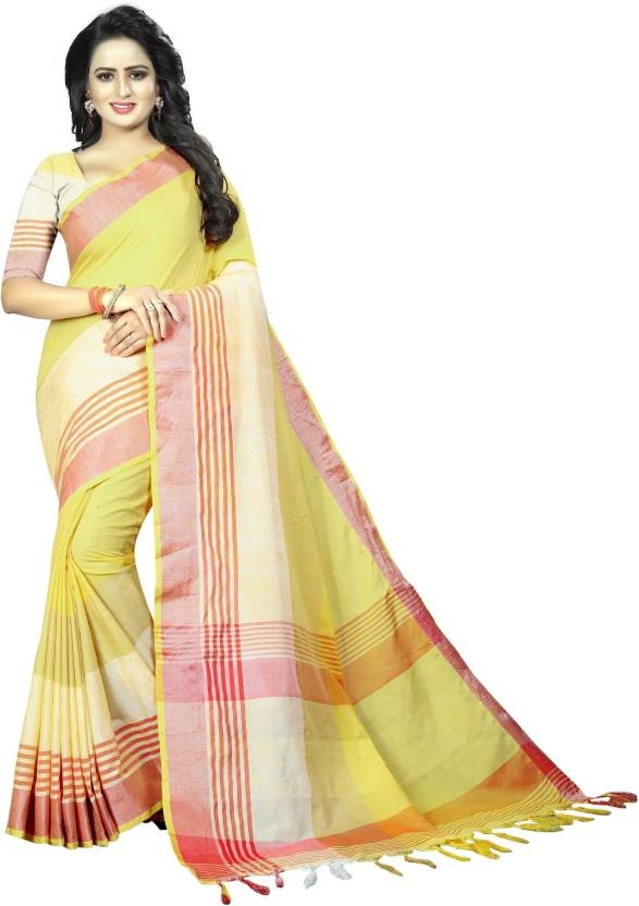 91f4393a128f3 you get here good lookin sarees   Globalbridge Exim Women s linen Cotton  Saree with Unstitched Blouse Piece