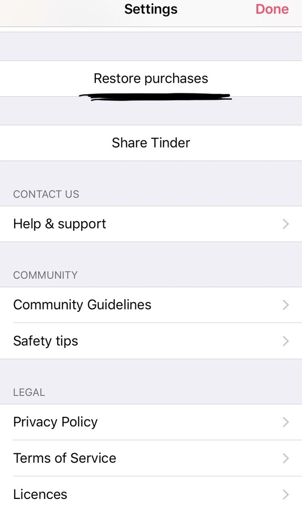 Restore purchase tinder Question about