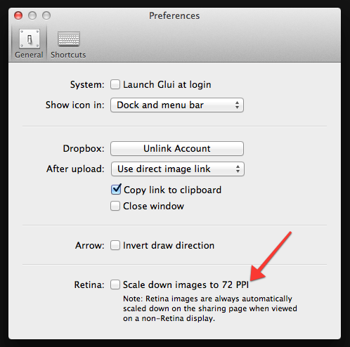 Can you take screenshots on a retina macbook pro using the non the paid screen capture app glui has an option for it to automatically scale retina screenshots to the traditional 72 ppi aka dpi ccuart Choice Image