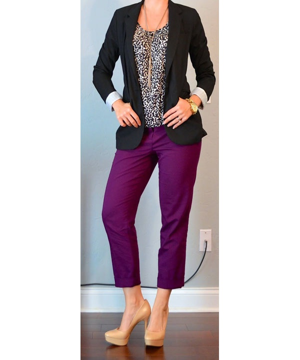 Colors That Go With Purple Part - 17: This Final Photo Shows How To Combine A Pair Of Purple Pants With A Leopard  Print Top And A Black Jacket. The Gold Tone Necklace And Wristwatch Go Well  With ...