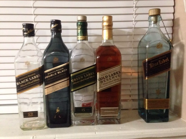 What is the correct order of labels of Johnnie Walker scotch