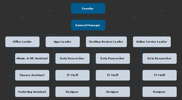 what is the ideal organizational structure chart for new tech service startup