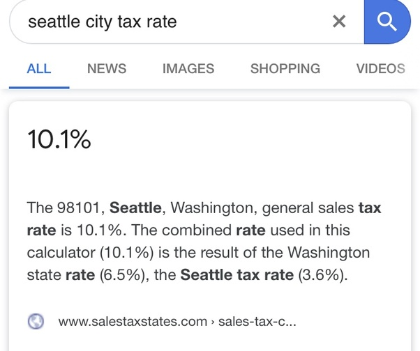 Seattle Sales Tax Rate >> Does Seattle Have Income Tax Quora