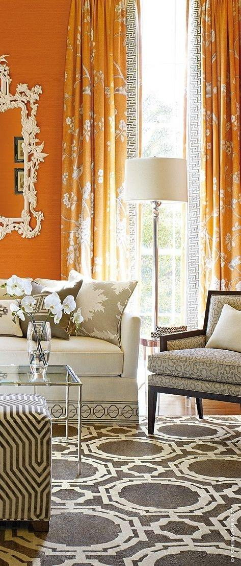 Personally I Love A Gray Curtain It Offsets The Bold Brightness That Comes With Orange And Helps Everything Smooth Over Making Sure Meshes Well