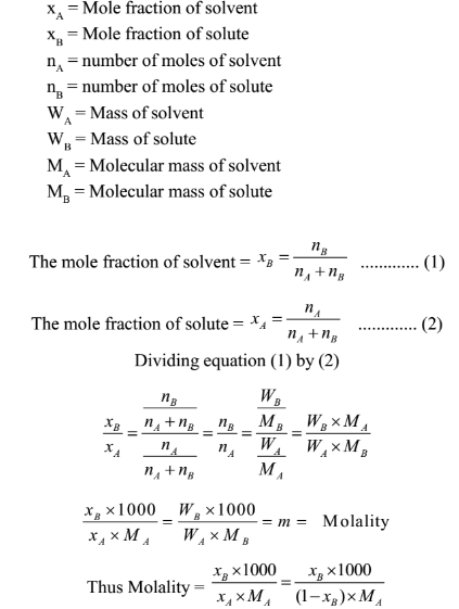 How to relate mole fraction and molality - Quora