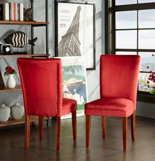 Here S One Of My Favorite Sets Which Is A Clic Parsons Dining Room Chair Upholstered With Red Suede Fabric Very Cly
